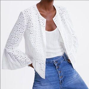 Zara White Eyelet Ruffled Open Front Blazer Jacket